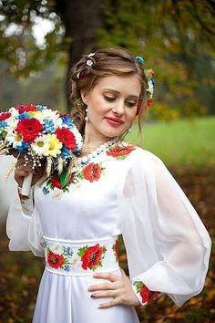 Beautiful Ukrainian or eastern European themed wedding and dress. Polish Embroidery, Ukrainian Dress, Flower Headdress, Ukraine Women, Ethno Style, Folk Fashion, Embroidered Clothes, Folk Costume, Costumes