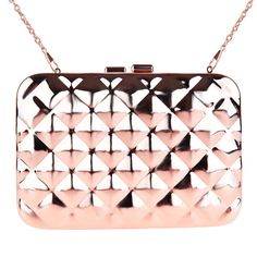 Zapals Designer Box Clutch Bag Rhombus Metallic Mirror Hard Case - Rose Gold. Brighten up your party, and stand out in a crowd with the Metallic Mirror Box Clutch from ZAPALS. Metallic style meets modern fashion with a chic clasp closure and convertible shoulder chain. Perfect for both special and casual occasions!