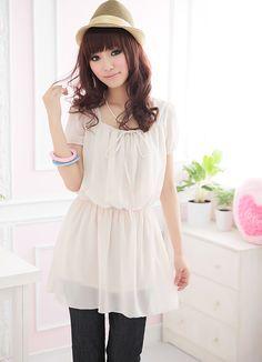 Simple Design Hk Fashion Plus Size Junior Chiffon Apricot Dresses  Item Code:  IO9514+Apricot    US$10.99