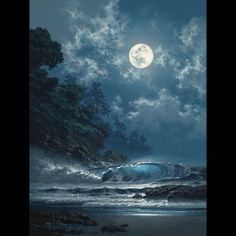 """""""Behold the Moon"""" by Hawaii seascape artist, Roy Tabora. Thomas Kinkade, Moon Pictures, Pretty Pictures, Kinkade Paintings, Ciel Nocturne, Shoot The Moon, Beautiful Moon, All Nature, Belle Photo"""