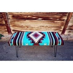 Image of Vintage Bench With Hairpin Legs Western Furniture, Rustic Furniture, Diy Furniture, Vintage Furniture, Southwestern Decorating, Southwest Decor, Southwestern Style, Vintage Bench, Vintage Western Decor