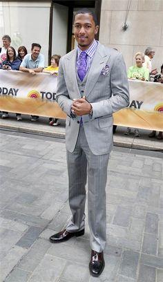 Gray Suit with Lavender high-lights. Best Dressed Man, Sharp Dressed Man, Modern Mens Fashion, Men's Fashion, Nick Cannon, Suit Up, Handsome Black Men, Beautiful Men Faces, Celebrity Look