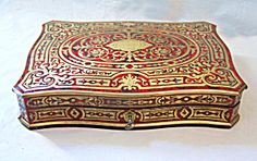 Antique French Turtle Top Boulle-work Game Box With Mother Of Pearl Counters