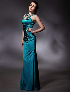 Trumpet/Mermaid Floor-length Sleeveless Stretch Satin Evening Dress - USD $ 129.99