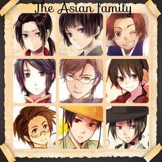 The Asian family as all males China,Japan,South Korea, Hong Kong, Macau, Taiwan(male), Thailand, Vietnam(male), North Korea