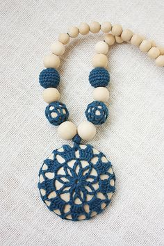 READY TO SHIP Boho Style Nursing necklace for breastfeeding Mom - Crochet pendant - Baby teether - navy color wood beads wood disk