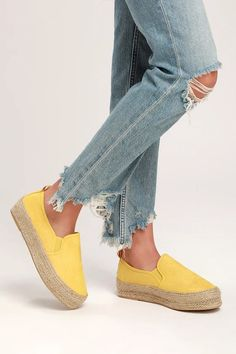 outlet store 0f228 aa6bc Lulus   Loletta Yellow Flatform Espadrille Sneakers   Size 10   Vegan  Friendly