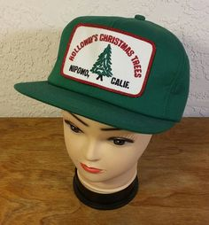Snapback Truckers Hat Holloway's Christmas Trees Green Retro K-Products Inc. USA