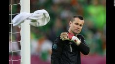 Shay Given of Republic of Ireland tosses the towel during the group C match between Spain and Ireland in Gdansk, Poland, on Thursday, June 14. CNN.com