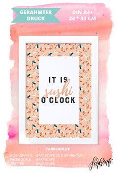 Poster A4   Kunstdruck mit Rahmen (21x30 cm)   It is sushi o'clock