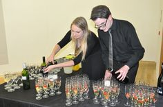 Elly and Killian pouring prosecco at a wedding reception. Prosecco, Wedding Reception, Events, Gym, Marriage Reception, Wedding Receiving Line, Excercise, Wedding Reception Ideas, Wedding Reception Activities