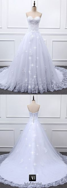 Gorgeous Tulle & Organza Sweetheart Neckline A-line Wedding Dress With Beaded Lace Appliques