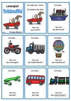Verkehrs- und Transportmittel 1 _ Lesespiel German Grammar, German Words, German Language Learning, Nouvel An, School Projects, Vocabulary, Kindergarten, Worksheets, Germany