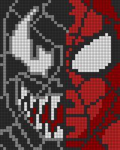 Spiderman N Venom Perler Perler Bead Pattern / Bead Sprite