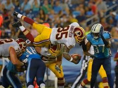 Redskins wide receiver Leonard Hankerson goes airborne during his second-quarter touchdown play.