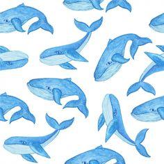 baleias aquarela padrão Vetor Premium