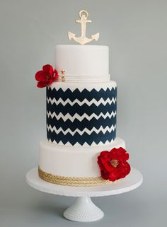 i like this nautical wedding cake. I want a nautical wedding, but classy. not like with decorations that belong in a little boys room Nautical Wedding Cakes, Nautical Cake, Nautical Party, Nautical Style, Navy Party, Coastal Style, Pretty Cakes, Cute Cakes, Beautiful Cakes
