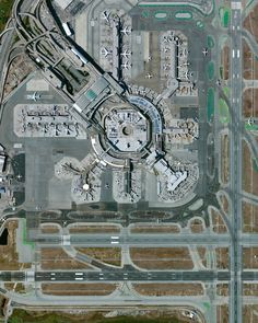 """San Francisco International Airport, California - photo by dailyoverview;  It is """"the twenty-first busiest airport in the world by passenger traffic, accommodating more than 50 million passengers every year."""""""