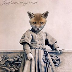 Fox Art Print, Mixed Media Collage Print,  Jackson, 8 x 10 Altered Victorian Photograph, frighten