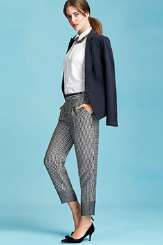 work chic - navy blazer - white blouse - printed slim ankle pants - black pumps // Ann Taylor ss2014