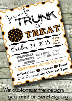 Trunk or Treat ~ HALLOWEEN PARTY ~ 5x7 Invite ~ 8.5x11 Flyer ~ 11x14 Poster ~ 300 dpi Digital Invitation by DitDitDigital on Etsy