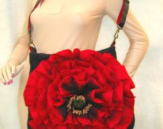 Felted bag,  Handbag- Flower.  RED POPPY