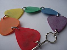 Rainbow Guitar Pick Bracelet by thejewelrydream on Etsy, $9.99
