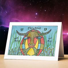 Taurus birthday card Taurus star sign zodiac astrology birthday card Taurus stationery gift sun sign Zodiac gift card for birthdays Taurus Sun Sign, Pisces Star Sign, Taurus Art, Zodiac Star Signs, Aquarius Birthday, Different Zodiac Signs, Funny Birthday Cards, Astrology, Horoscope