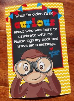 Cute and playful Curious George party decor! Use this sign next to your Curious George guestbook. Perfect for any Curious George fan! Third Birthday, 3rd Birthday Parties, Baby Birthday, Birthday Party Decorations, Birthday Ideas, Monkey Birthday, Birthday Nails, Curious George Party, Curious George Birthday