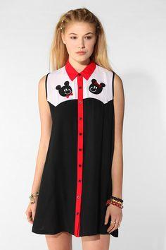 LAZY OAF Mr. & Mrs. Bear Sleeveless Shirtdress #urbanoutfitters
