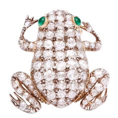Antique Diamond Frog Brooch | From a unique collection of vintage brooches at http://www.1stdibs.com/jewelry/brooches/brooches/