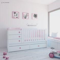 cuna convertible de beb en color rosa se puede elegir entre cajones o cama nido