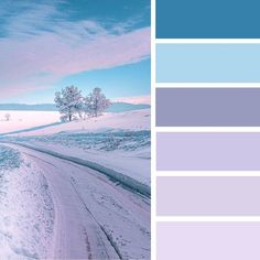 Winter landscape in shades of lavender color palette #color #winter #colorpalette #pantone