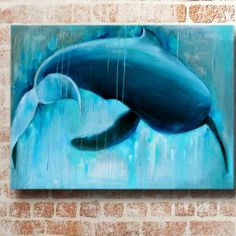 Coastal art. Whale painting for your beach home
