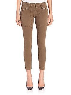 J BRAND Genisis Cropped Utility Jeans - Distressed Trooper - Size