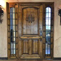 As entry doors, the Puerta Lily is a gorgeous single exterior Spanish doorwithsidelights, made from solid Knotty Alder Woodwood. This popular door features a square top, but brings in classic Sp…