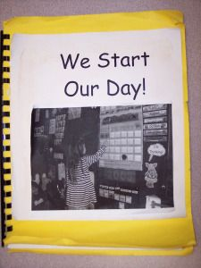 take pics of children going through a typical day at school; make sure each child is represented; make class book and take turns taking home at beginning of school year; keep on classroom bookshelf after that Kindergarten Classroom Management, Classroom Routines, Classroom Procedures, Preschool Classroom, Classroom Organization, In Kindergarten, Classroom Ideas, Prek Literacy, Preschool Graduation