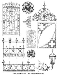 Ironworks for STEAMPUNK and Mixed Media Art, Victorian Line Art Illustrations…