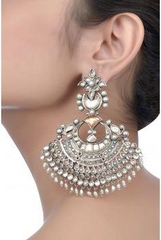 Silver Oxidized Pearl Beaded Earrings