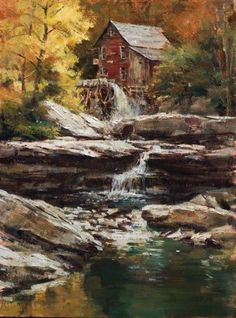 """John Austin Hanna ~ """"Old Red Mill"""" ~ 20"""" x 16""""   Limited Edition Giclee on Canvas"""