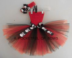 Red and Black Tutu Dress with Skull Bows by APocketfulofBows, $28.99