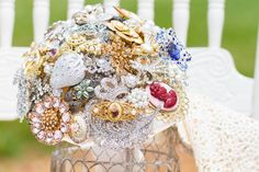 Brooch Bouquet I made for my step daughters wedding. It is made from new and vintage brooches.