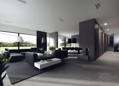 Single-family house interior design, torun Tamizo Architects Source by gmproject Black And White Interior, White Interior Design, Contemporary Interior, Interior And Exterior, Black White, House Interior Design, Interior Ideas, Living Room Designs, Living Spaces