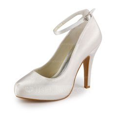 Wedding Shoes - $49.99 - Women's Satin Cone Heel Closed Toe Platform Pumps With Buckle (047005346) http://jjshouse.com/Women-S-Satin-Cone-Heel-Closed-Toe-Platform-Pumps-With-Buckle-047005346-g5346