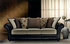 Fabric And Leather Combination Sofa   Bing Images