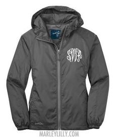 Monogrammed Gray Steel Green Eddie Bauer Rain Jacket...should probably wait until i officially change my last name to get it lol