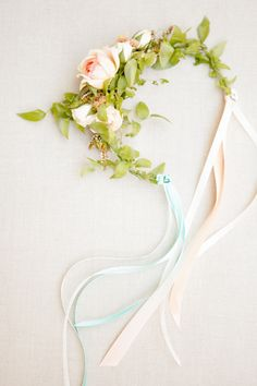 Flower Girl Floral Headband | Ashlee Raubach Photography |  Floral Design: Twig and Twine | Wedding on SMP: http://www.stylemepretty.com/2013/04/29/newport-beach-wedding-from-ashlee-raubach/