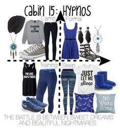 """Cabin 15: Hypnos"" by aquatic-angel ❤ liked on Polyvore featuring NIKE, Splendid, UGG Australia, Yves Delorme, Park B. Smith, Converse, Frame Denim, Laundromat, Ancient Greek Sandals and Bling Jewelry"