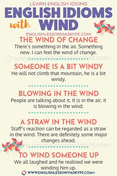 English Expressions and Idioms with Wind - Learn English with Harry 👴 Teaching English Grammar, English Grammar Worksheets, English Writing Skills, English Vocabulary Words, Learn English Words, English Phrases, English Idioms, English Lessons, Learning English