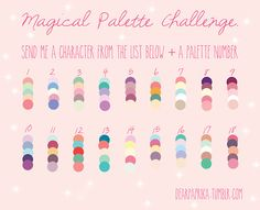 It can be any character from any of my fandoms or favorite things: Palette Art, Colour Pallette, Colour Schemes, Color Combos, Drawing Challenge, Art Challenge, Color Palette Challenge, Art Prompts, Princess Coloring